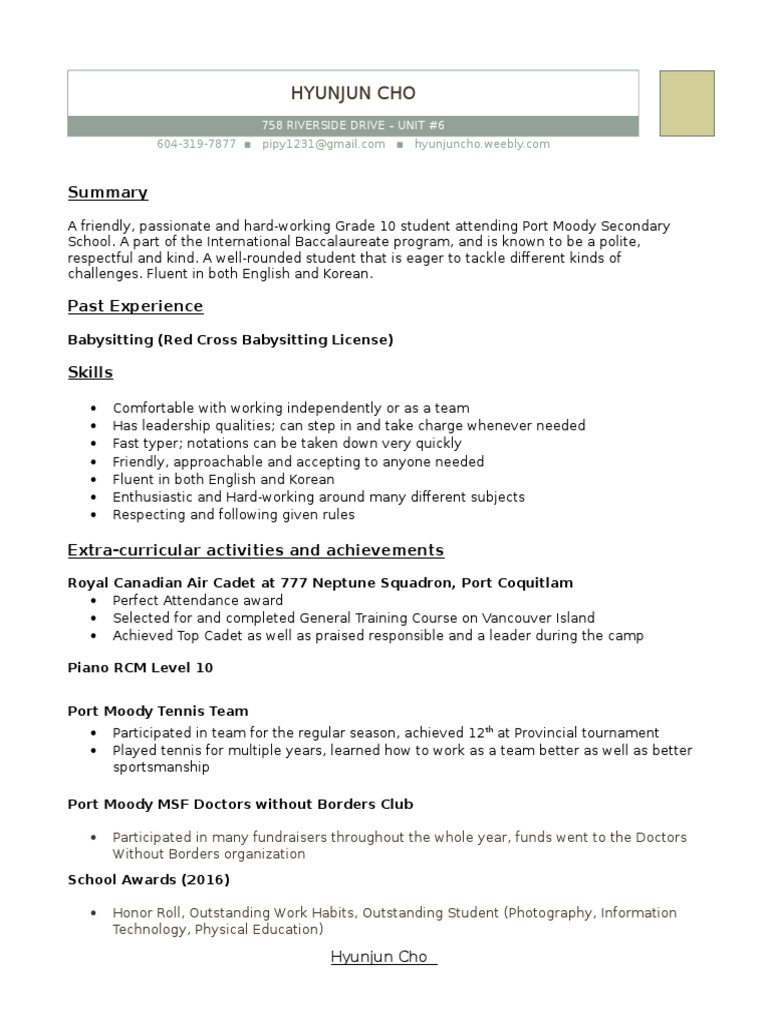 Resume | Teachers | Psychology & Cognitive Science