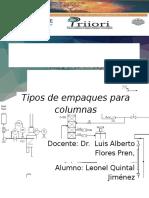 TIPOS DE EMPAQUES. OPERACIONES DE TRANSFERENCIA DE CALOR Y MOMENTUM.