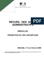 recueil n° 7 du 3 février médaille - promotion janvier 2009