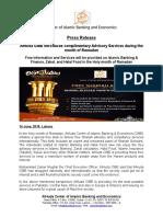 AlHuda CIBE - Press Release on Ramadan Package