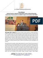 AlHuda CIBE - Press Release on Islamic Finance is ideal for Agricultural