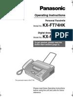 Panasonic Kx Ft74hk Operation Manual 120916