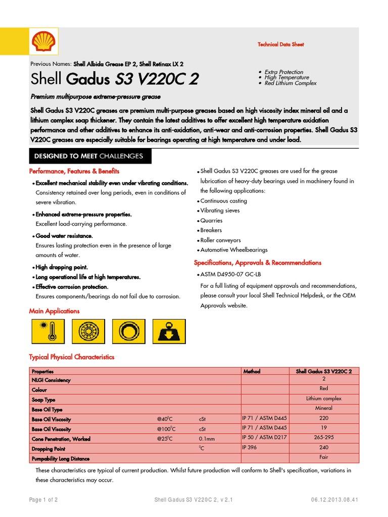 Shell Gadus S3 V220C 2 (en) TDS | Liquids | Industries