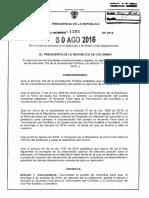 El decreto 1391 del 30 de agosto de 2016 que convoca al Plebiscito por la Paz