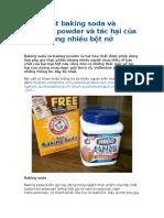 Phân Biệt Baking Soda Và Baking Powder Và Tác Hại Của Việc Dùng Nhiều Bột Nở
