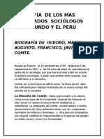 Biografía de Los Mas Destacados Sociólogos en El Mundo y El Perú
