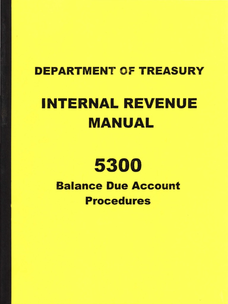 Irm 5300 Balance Due Account Procedures Form 09 062 Internal