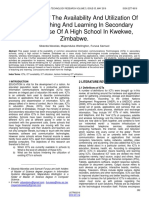 Assessment of the Availability and Utilization of Icts for Teaching and Learning in Secondary Schools Case of a High School in Kwekwe Zimbabwe