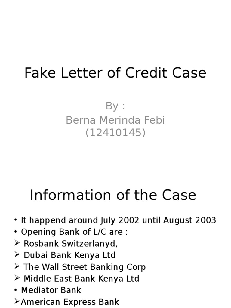 Fake Letter Of Credit Case Ebby Banking 26 Views