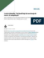 "Agredida_ Letícia Sabatella_ ""No Brasil Hoje Há Um Desejo de Morte, De Aniquilação"" _ Brasil _ EL PAÍS Brasil"