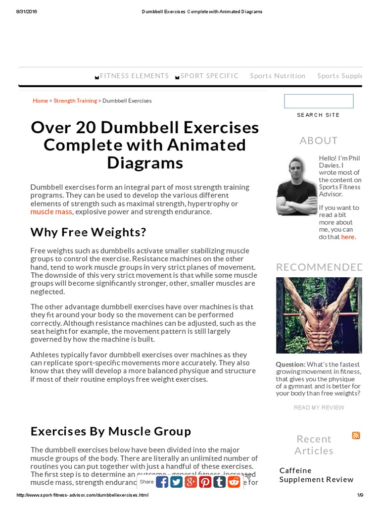 dumbbell exercises complete with animated diagrams weight training