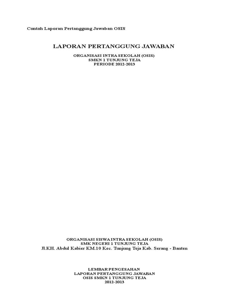 Doc Laporan Pertanggung Jawaban Ketua Dan Wakil Ketua Osis Ahmad Zayyadi Academia Edu