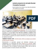 Jornada Escolar Completa Fracasará
