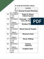 English Club Activities 2016