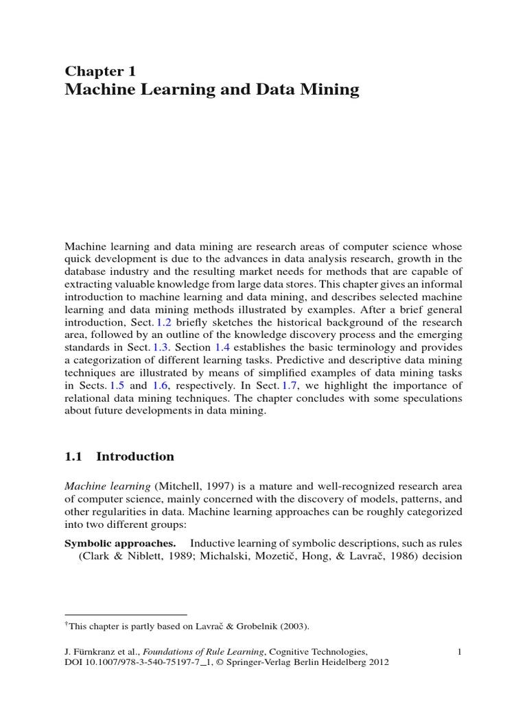 Machine Learning And Data Mining Data Mining Machine Learning