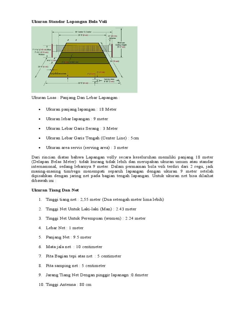Ukuran Standar Lapangan Bola Voli