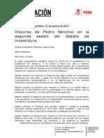 Discurso de Pedro Sánchez Debate Investidura 310816