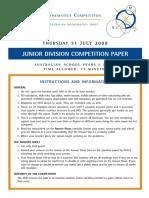 AMC Junior Division 2008 Paper