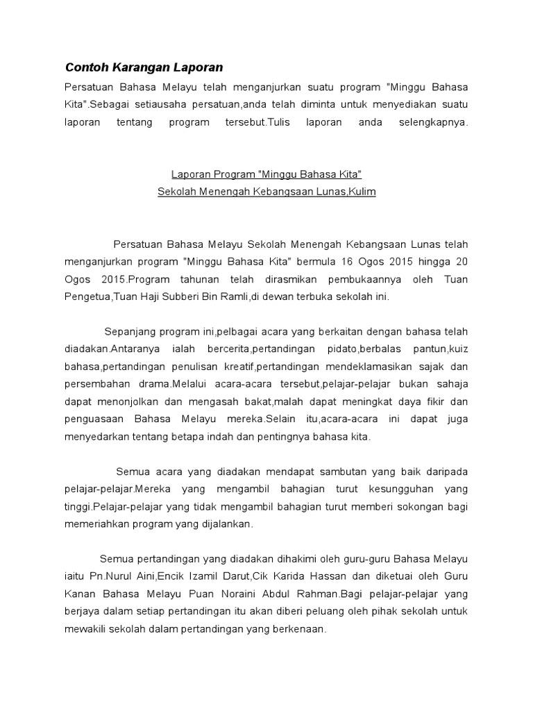Karangan Laporan Minggu Bahasa Melayu Pt3