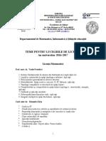 Propuneri Licenta 20162017 MATE