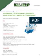 Configuraçoes Email (Pop, Smtp..