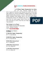 All Blacks vs Argentina Rugby Championship Live Online Stream 2016