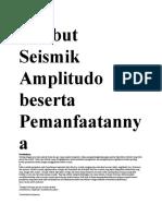 Atribut Seismik Amplitudo Beserta Pemanfaatannya