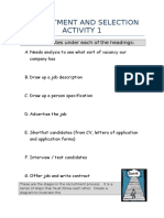 Recruitment and Selection Activities Workpack 2010