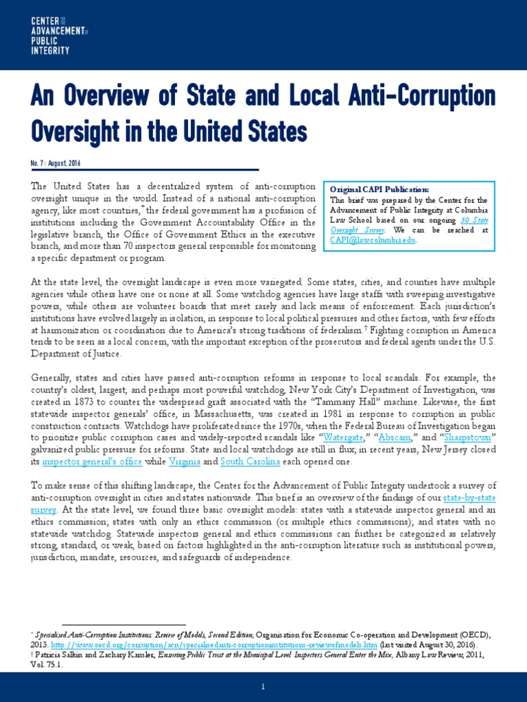 Overview of state oversight institutions capi issue brief august 2016 u s state corruption