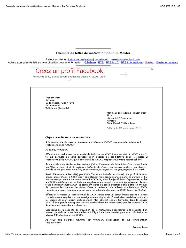 Exemple De Lettre De Motivatifgbon Pour Un Master Le Parisien Etudiant