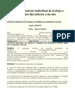 Formato Contrato Individual de Trabajo a Término Fijo Inferior a Un Año