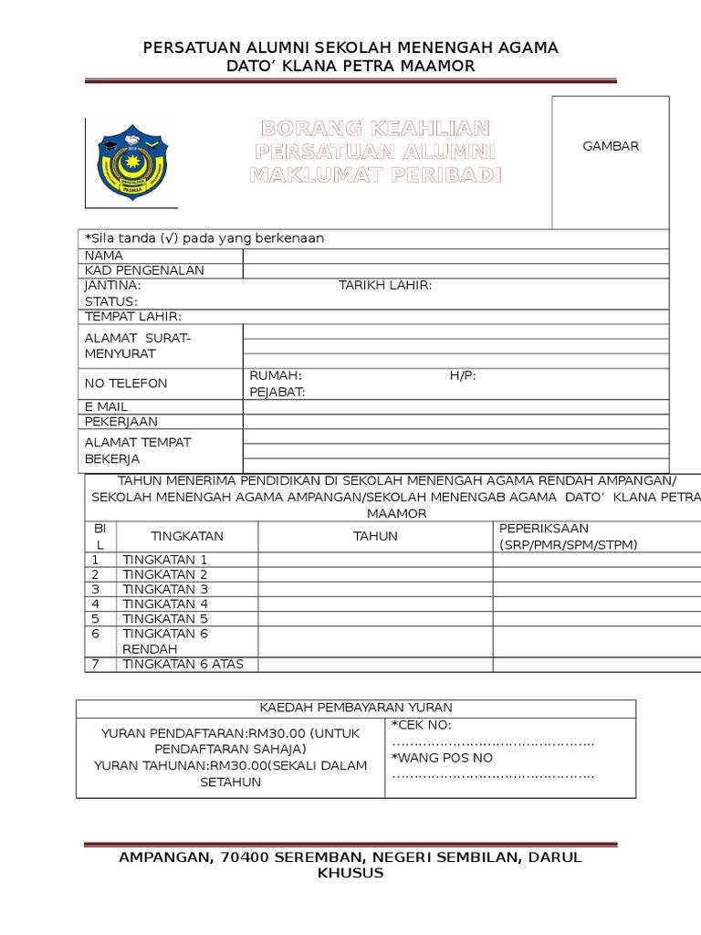 Contoh Borang Pendaftaran Alumni
