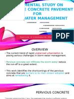 Exprimental Study on Permeable Concrete Pavement For