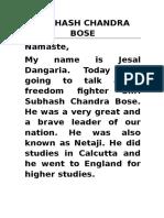 Speech on Subhash Bose