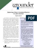 Balancing China's Growing Influence in Latin America