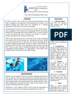 newsletter to parents- swimming