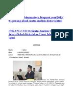 PERANG UHUD (Suatu Analisis Historis Sebab-Sebab Kekalahan Umat Islam)