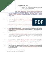 Affidavit of Loss template