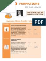 Calendrier Formations Communication Septembre à Décembre 2016