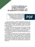 Malatesta Errico - Rapport Congrès Amsterdam 28-09 Au 5-10-1907