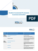 Checklist of Recommended ITIL Documents for Processes and Functions En