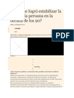 Cómo Se Logró Estabilizar La Economía Peruana en La Década de Los 90