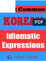Most Common Korean Idiomatic Expressions - For TOPIK II