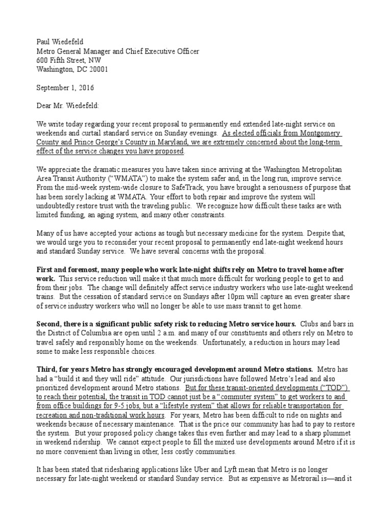 Letter from Maryland Officials to WMATA on Late Night