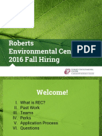 Roberts Environmental Center 2016 Fall Hiring