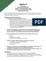algebra 1 course guidelines