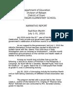 Nutrition- Narrative Report