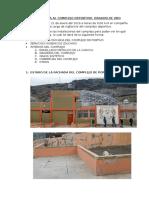 Informe de Visita Al Complejo Deportivo Dragon de Oro