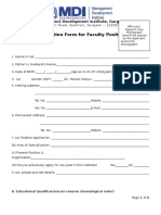 Application Form for Faculty Position