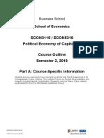 ECON3119 5319 Political Economy Course Outline 2016